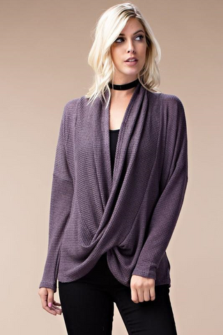Consideration Two Toned Purple Wrap Sweater