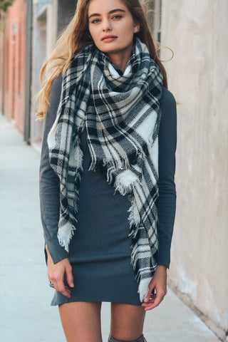 These are the Days Black/White Plaid Blanket Scarf