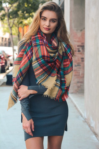 These are the Days Beige Plaid Blanket Scarf