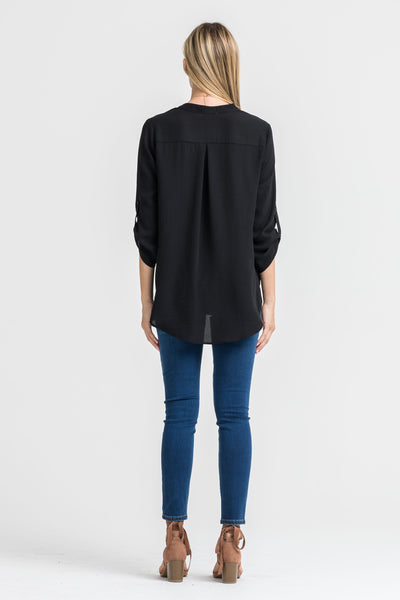 Always the Right Time Draped Hi-Low Blouse - Black