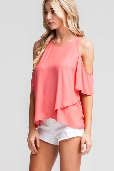 Chic Companion Cold Shoulder Top - Peach