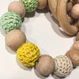 chomp - wooden chew beads with fabric details