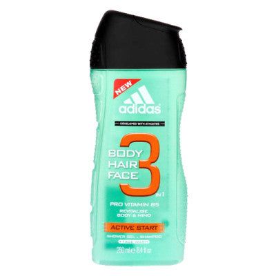 Adidas 3-in-1 Active Start Face, Hair & Body Shower Gel