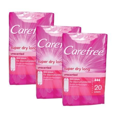 Carefree Super Dry Long Panty Liners - Unscented - dailymartsg