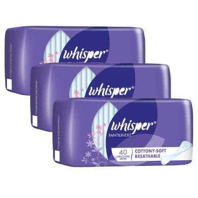 Whisper Cottony-Soft Breathable Unscented Pantiliners
