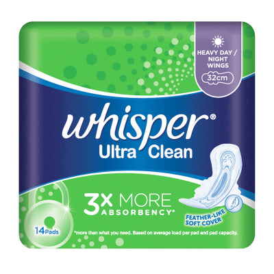 Whisper Ultra Clean Heavy Day Night Wings 32cm