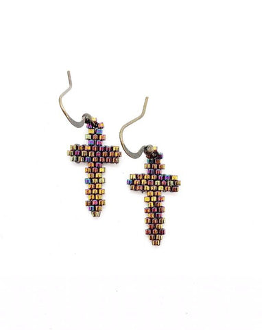 Cross Earrings - Rainbow Metallic