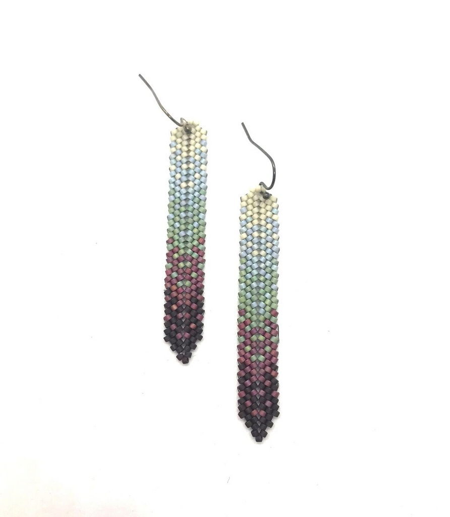 Moda Ha Earrings in cream, blue, green, cranberry and chocolate