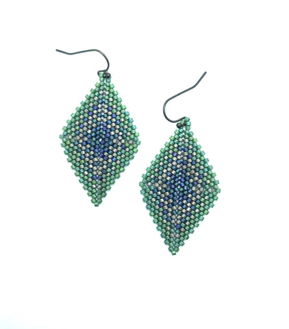 Hishi Earring in Blue, green and metallic silver