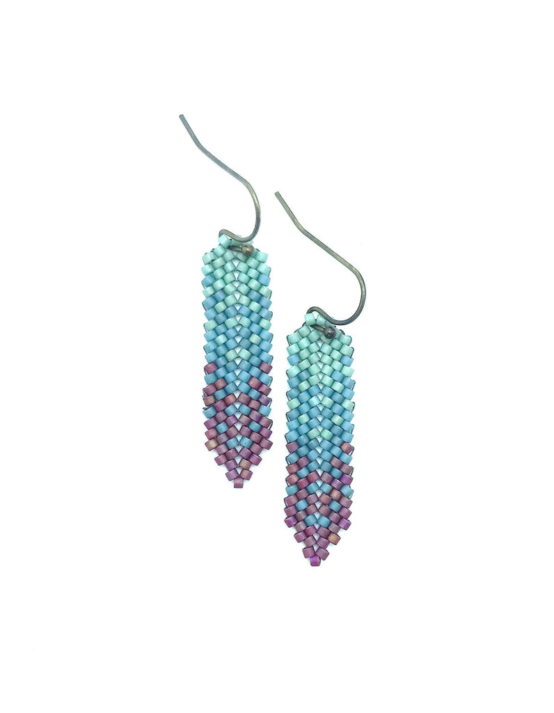 Moda Ha Earrings in soft blues and red