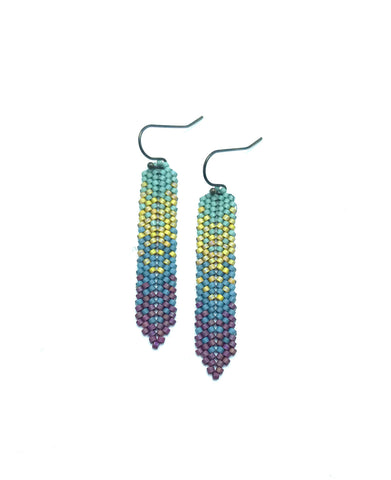 Moda Ha Earrings in Seafoam, yellow, slate blue and cranberry