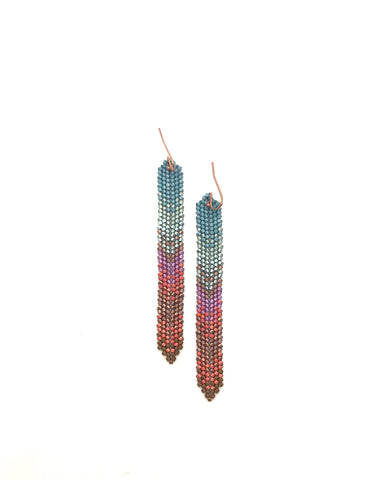 Moda Ha Earrings in shades of mint, peach, lavendar and brown