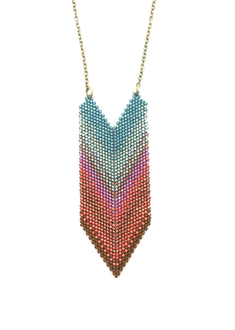 Hadena Necklace in shades of mint, peach, lavendar and brown