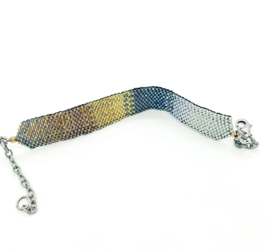 Onburu Bracelet shaded silver to blues to golds
