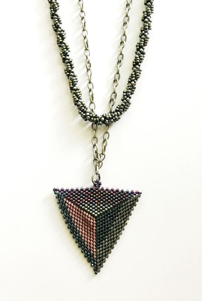 Surari necklace multi color shades and blues and mauve