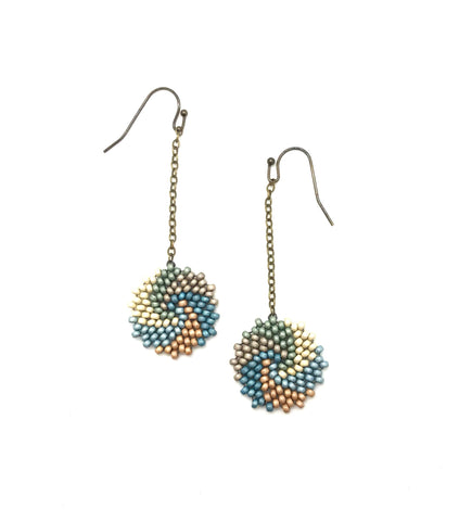 Enkei Earrings in Blues, cream, gold and silver