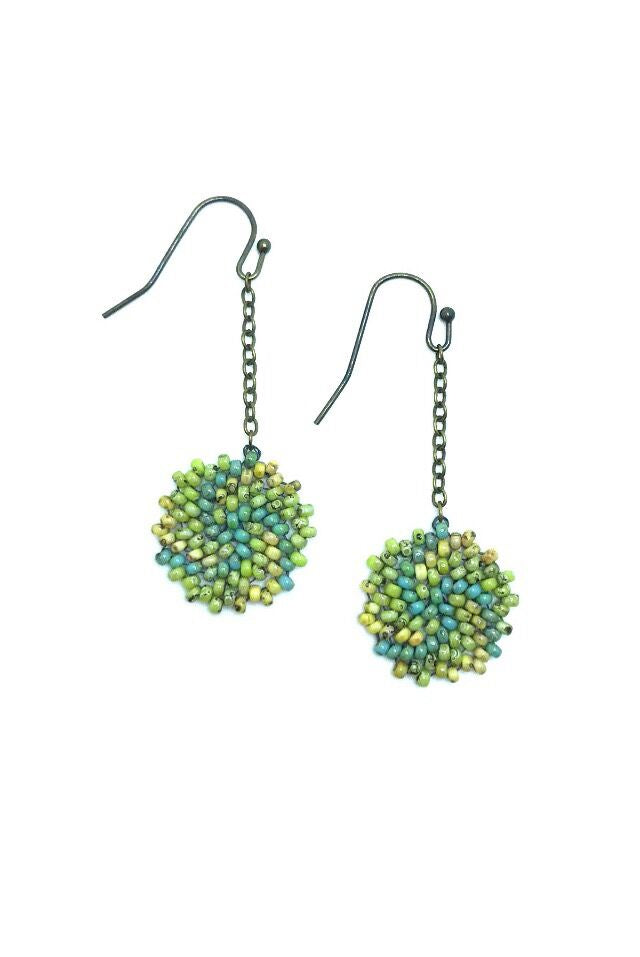 Enkei Earrings 2 - in chartreuse, turquoise and yellow