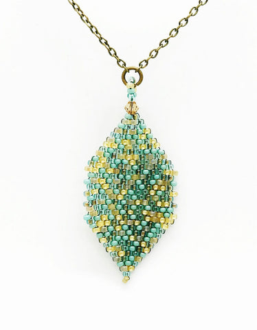 Mai Necklace in teal and gold