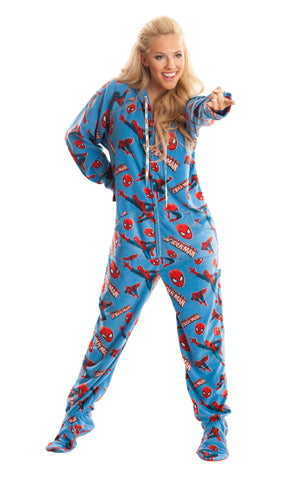 Spiderman Adult Footed Hooded Onesie Pajamas