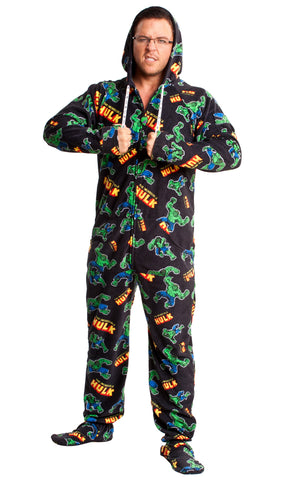 Hulk Adult Footed Hooded Onesie Pajamas