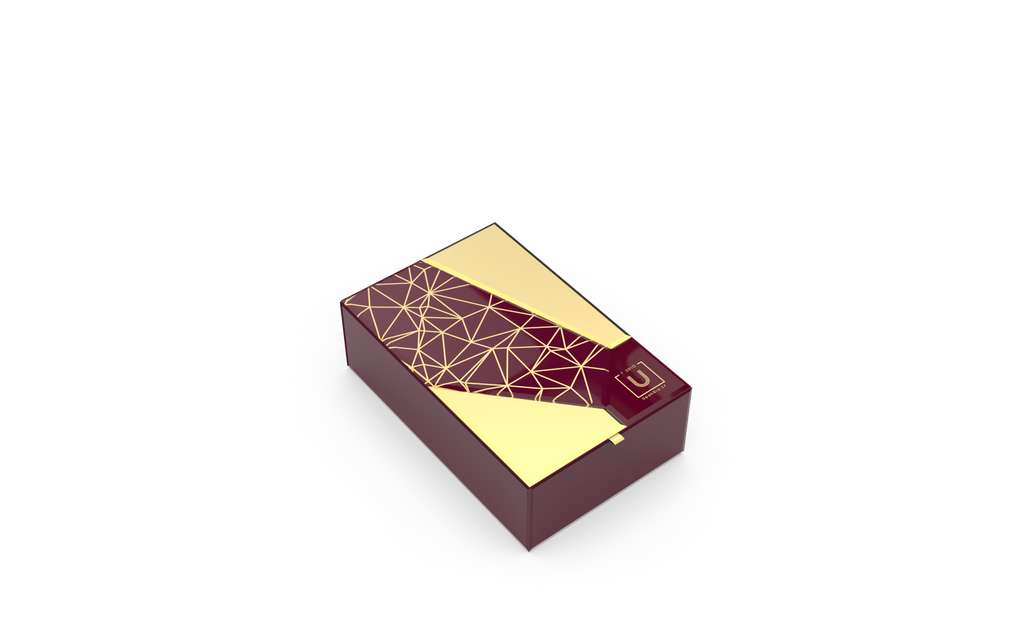 Bevelled Glass Rakhi Gift Box - Burgundy - Supreme