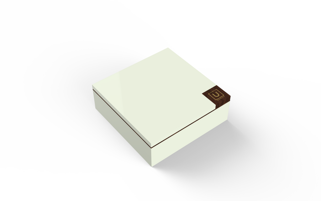 Walnut Trim Lacquered Wood Rakhi Gift Box - Ivory - Highline