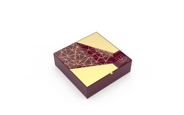 Bevelled Glass Rakhi Gift Box - Burgundy - Highline
