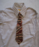 Tie - Vintage 1960's Burnt Orange Feather Pattern