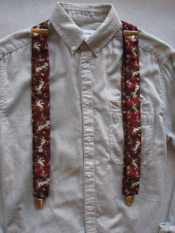 Suspenders - Vintage Maroon with Unicorns and Pegasi