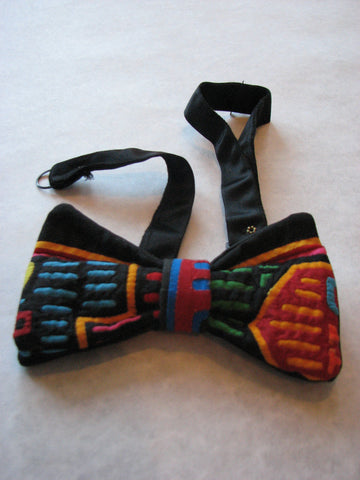 Bow Tie - Vintage, Black with Hand-sewn Cutwork Details