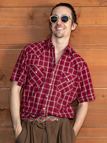 vintage 1980's maroon plaid short sleeve pearl snap shirt