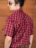 vintage 1980's maroon plaid short sleeve pearl snap shirt, rear view