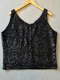 vintage 60s black sequin and beaded top, rear view