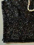 vintage 60s black sequin and beaded top, closeup of beading