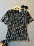vintage 80s black and silver sequin top