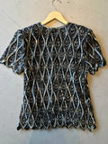 vintage 80s black and silver sequin top, rear view