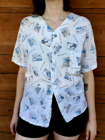 vintage 1940's cotton pajama shirt with novelty print