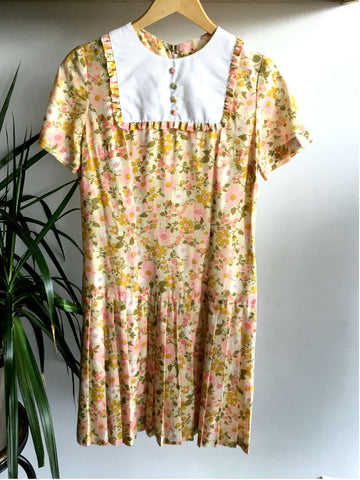 S - Vintage 1960's Floral Drop Waist Baby-doll Dress