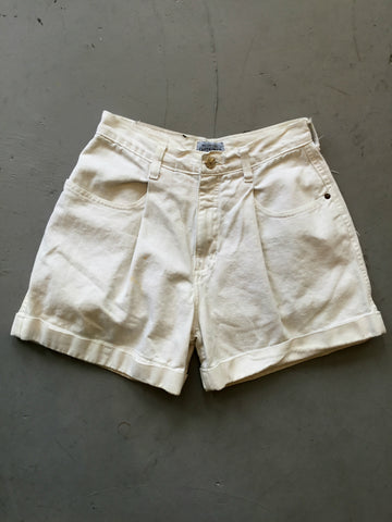 vintage 80's high waisted white mom shorts