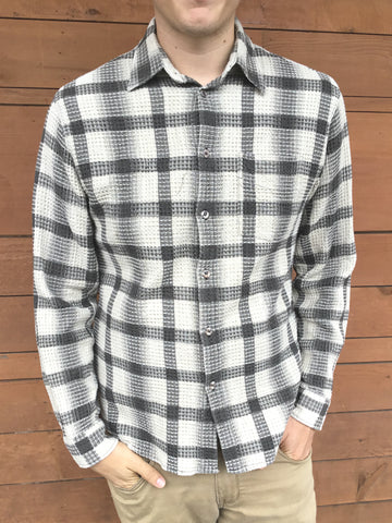 gray and white waffle print plaid shirt