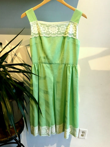 M - Vintage 1950's Green Gingham Summer Dress
