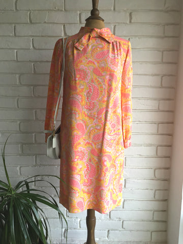 vintage 60s orange and pink paisley print dress