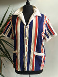 vintage 70s collegiate striped terry cloth jacket