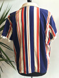vintage 70s collegiate striped terry cloth jacket, rear view