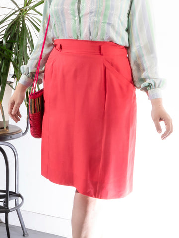 vintage yves saint laurent pink high waist silk skirt
