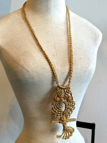 vintage 60s boho macrame gold owl necklace