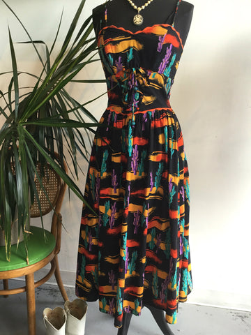 vintage 80s cactus print party dress