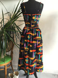 vintage 80s cactus print party dress, rear view