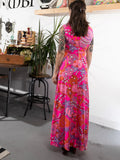 vintage 1960's pink groovy floral print maxi dress, rear view