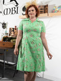vintage 60's extra large green floral day dress